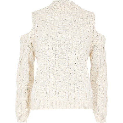 Cream cold shoulder cable knit sweater