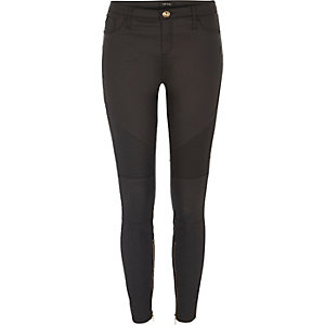 Black coated Amelie super skinny biker jeans