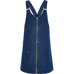 Dark blue denim pinafore dress