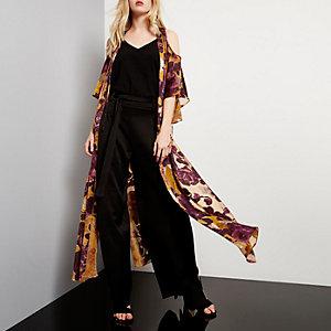 Brown print cold shoulder maxi kimono