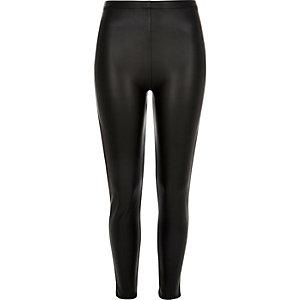 Zwarte legging met hoge taille en coating