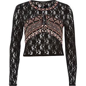Black embroidered lace top