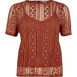 Dark orange embroidered lace top
