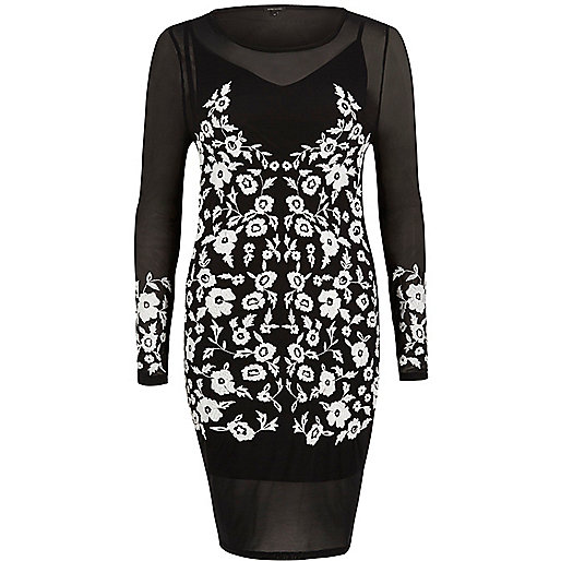 Black embroidered bodycon dress