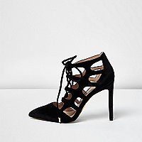 Black velvet cut-out heels
