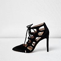 Black velvet cut-out heels