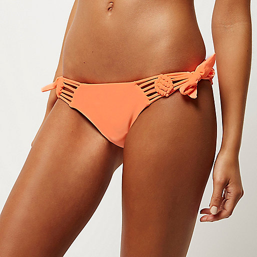 Orange macramé trim string bikini bottoms