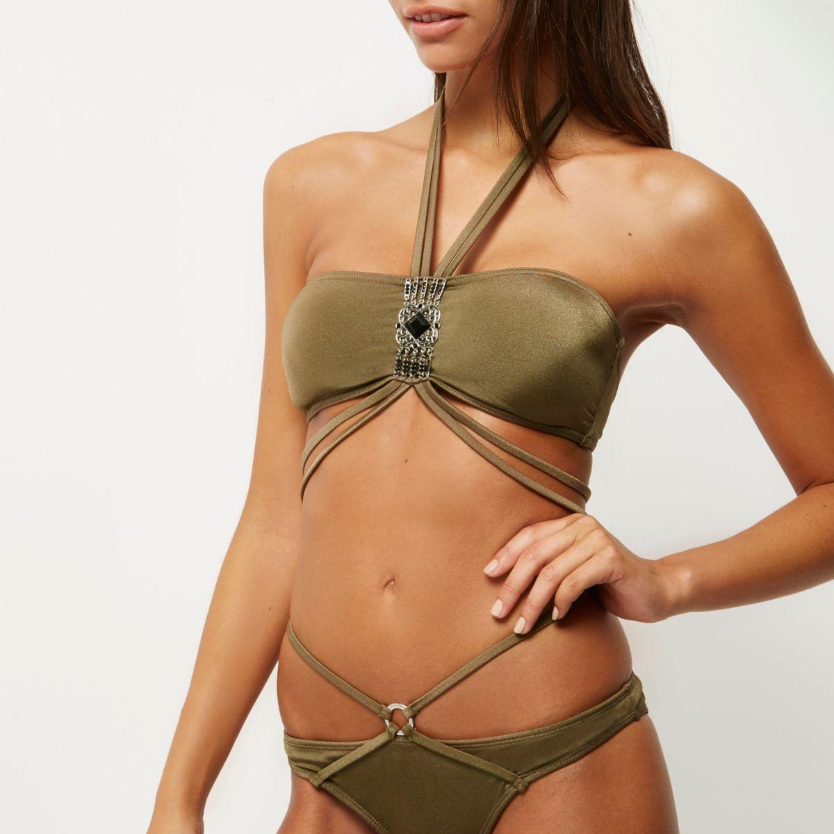 Haut de bikini bandeau kaki à nouer dans le cou