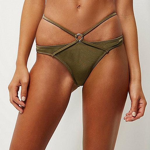 Khakifarbene gestreifte Bikinihose