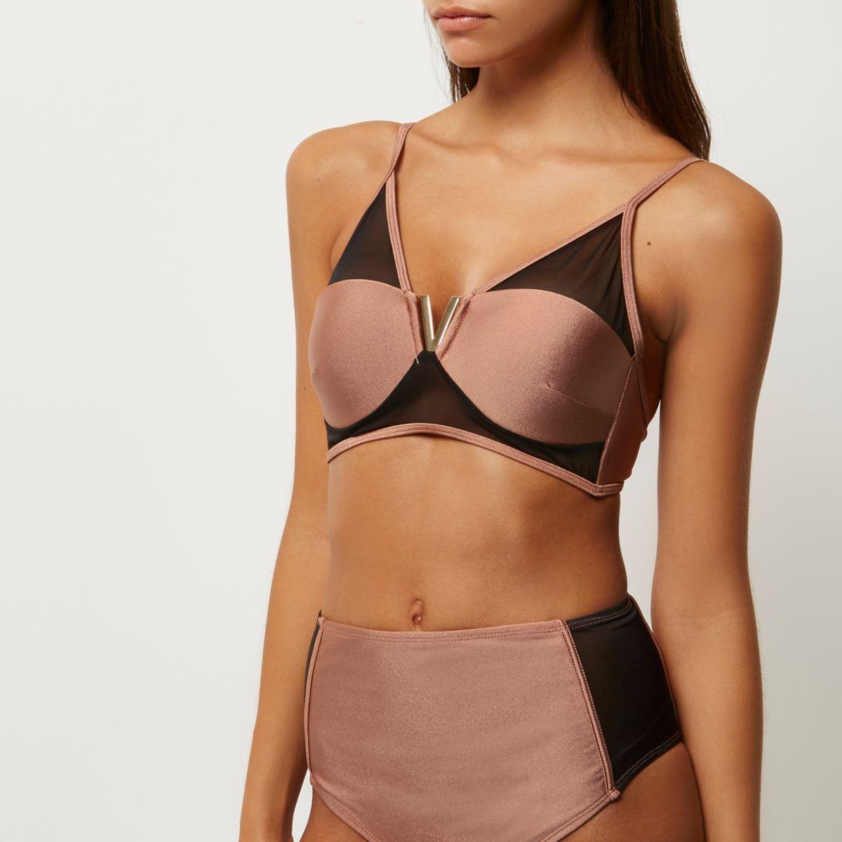 Bikinioberteil aus braunem Mesh
