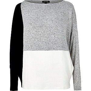 Grey color block batwing top