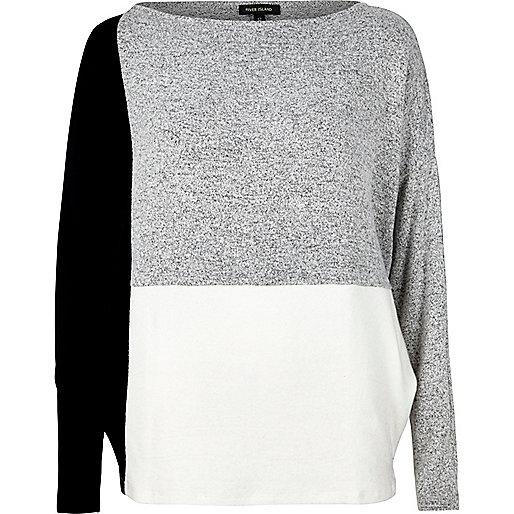 Grey color block batwing top