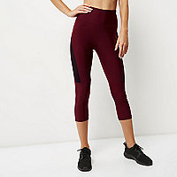 RI Active burgundy mesh sports capri leggings