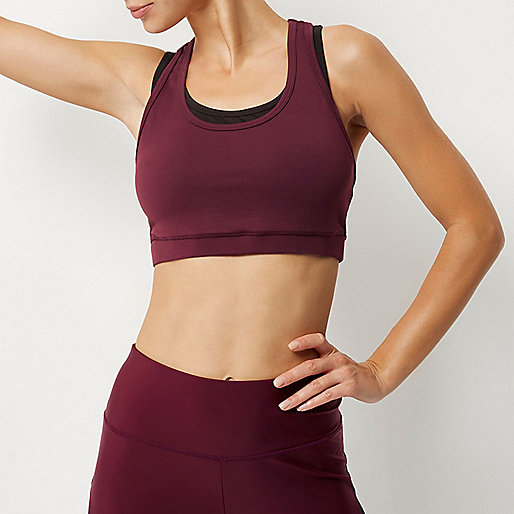 RI Active burgundy layered sports bra top