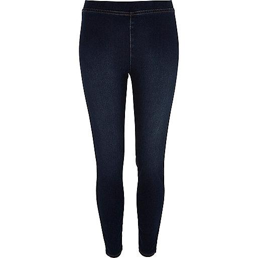 Dark blue denim look leggings