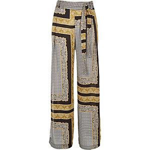 Black print side split trousers
