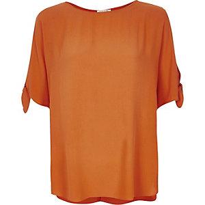 Orange tied sleeves t-shirt