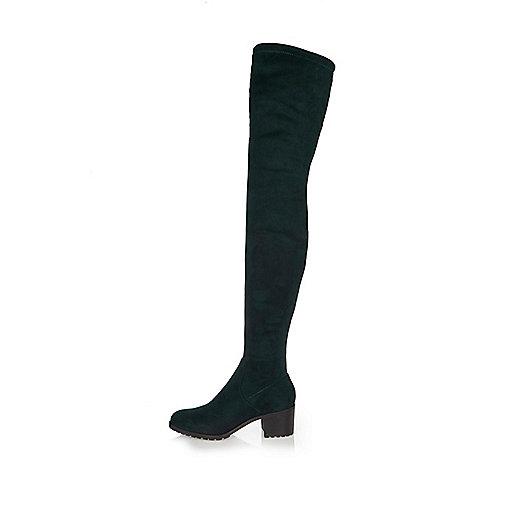 Dunkelgrüne Overknee-Stiefel
