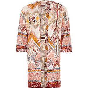 Crème kimono met paisleyprint en split op de rug