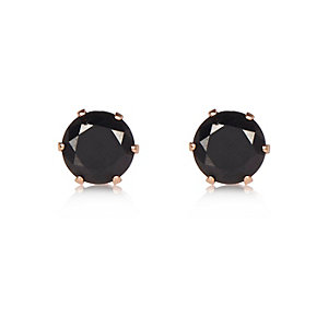 Black gem stud earrings