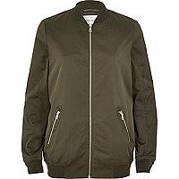 Khaki longline bomber jacket