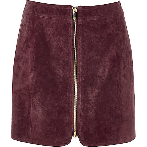 Dark pink suede zip through mini skirt