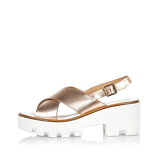 Gold leather platform sandals