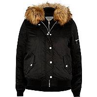 Black hooded bomber jacket