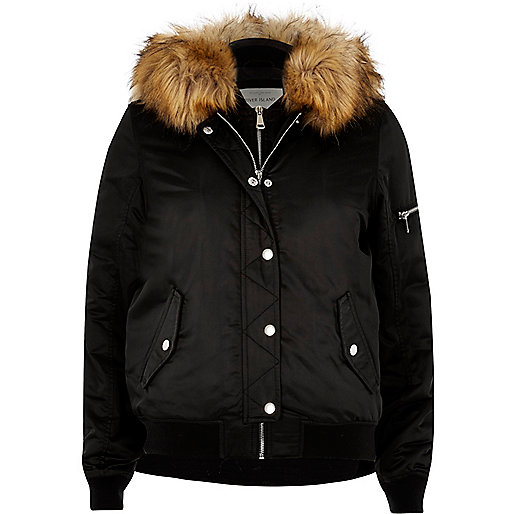 Black hooded bomber jacket - coats / jackets - sale - women