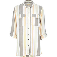 Cream stripe relaxed fit shirt