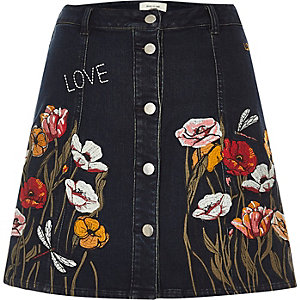 Black floral embroidered A-line denim skirt