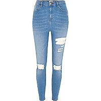 Lori – Skinny Jeans in blauer Waschung im Used-Look mit hohem Bund