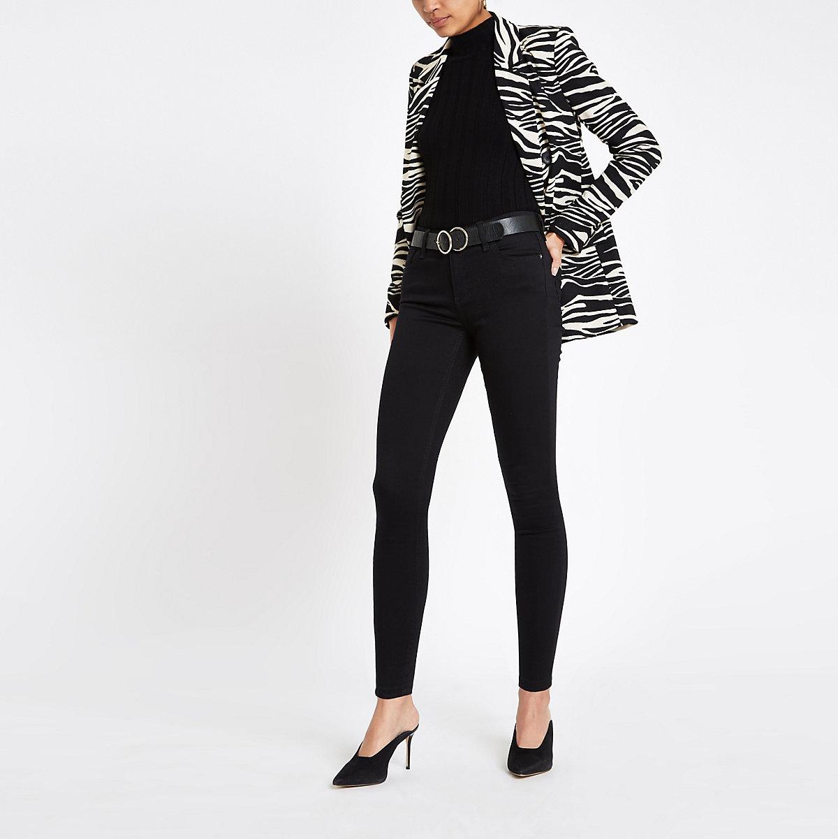 Amelie - Zwarte superskinny jeans met halfhoge taille