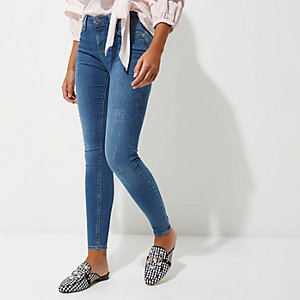 Amelie - Middenblauwe wash superskinny jeans