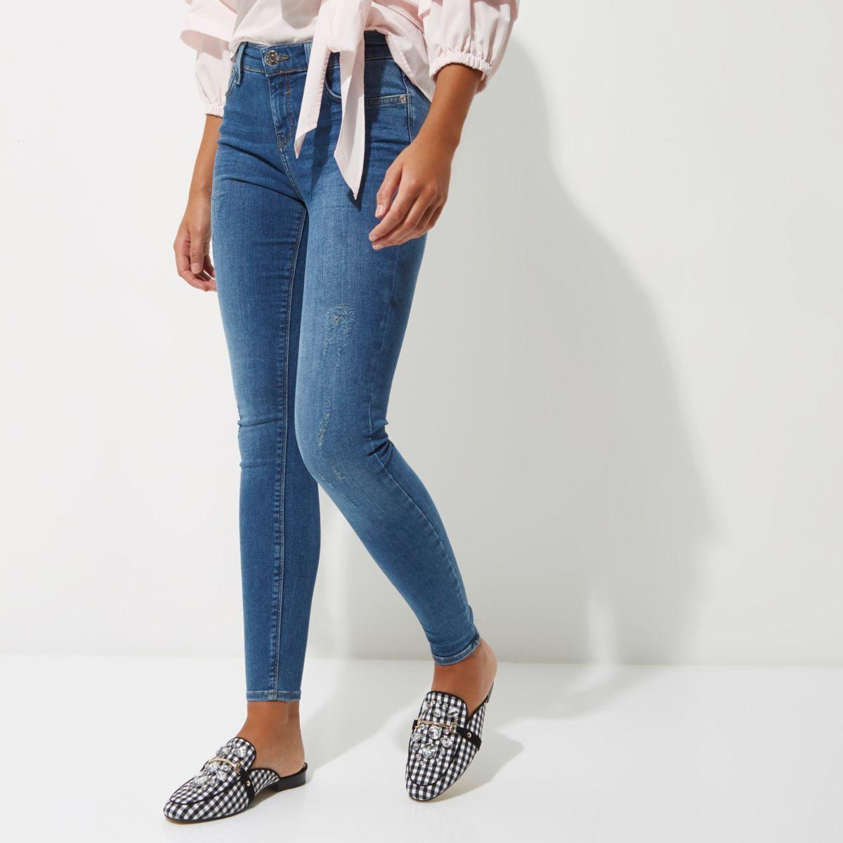 mid blue wash amelie super skinny jeans jeans sale women. Black Bedroom Furniture Sets. Home Design Ideas