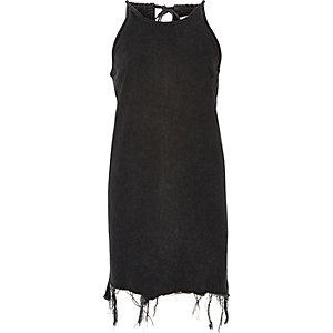 Black washed tied neck denim dress