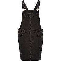 Black distressed dungaree dress