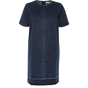 Dark blue wash denim T-shirt dress