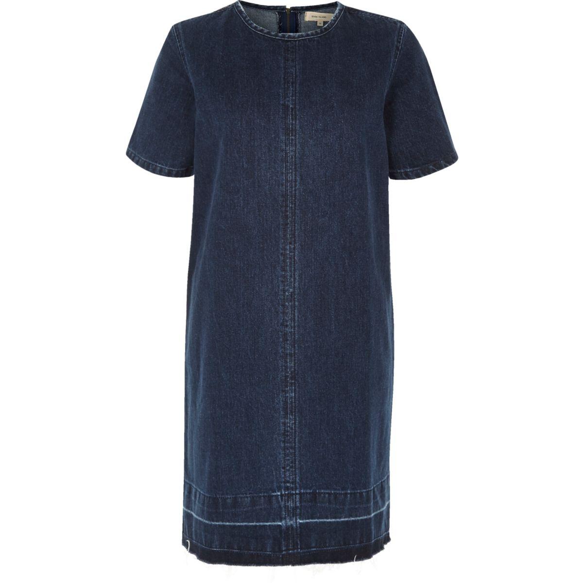 Dark blue wash denim T-shirt dress