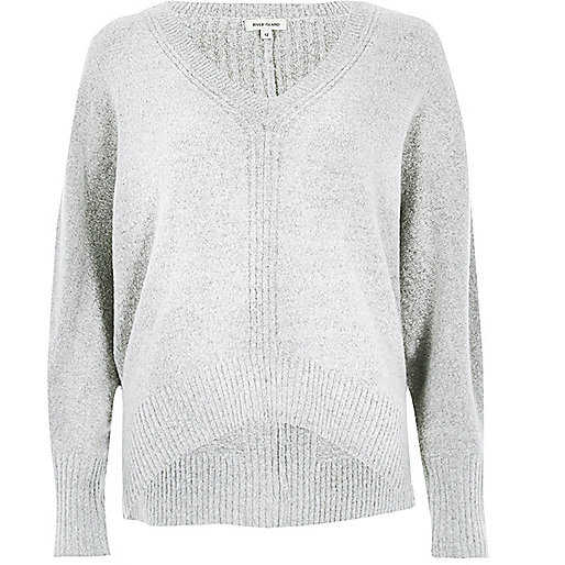 Grey ribbed panel batwing sweater