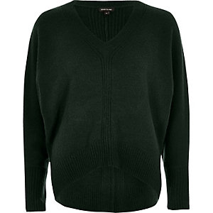 Dark green ribbed panel batwing sweater