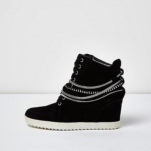 Black suede studded hi tops