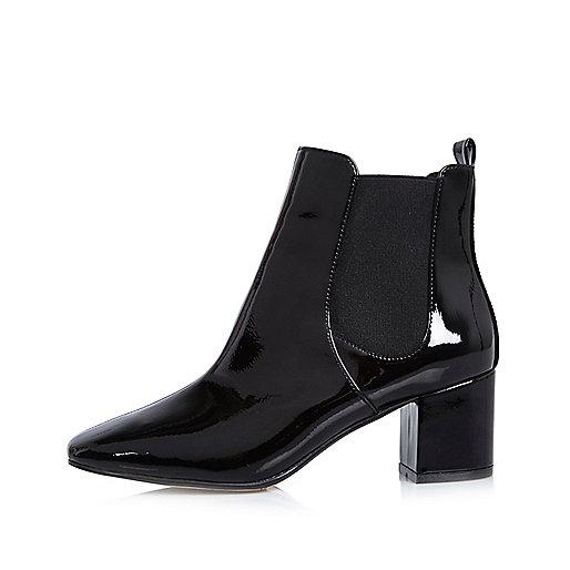 Schwarze Chelsea-Stiefel mit Blockabsatz