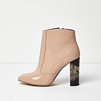 Nude patent perspex heel ankle boots
