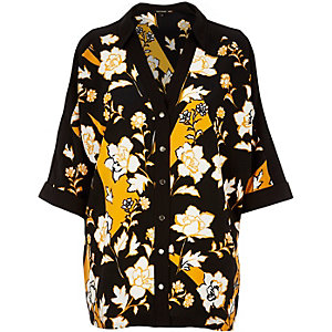 Orange floral print cold shoulder shirt