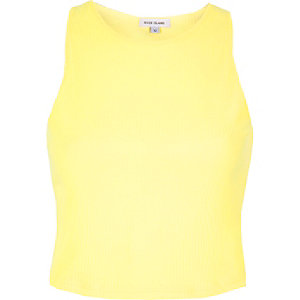 Light yellow '90s ribbed crop top