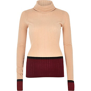 Nude ribbed stripe roll neck top