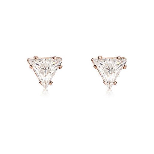Clous d'oreilles doré rose motif triangle