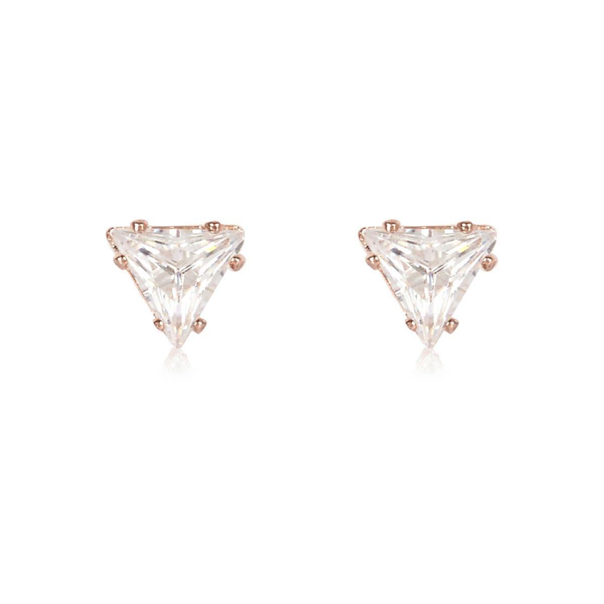 Rose gold tone triangle stud earrings