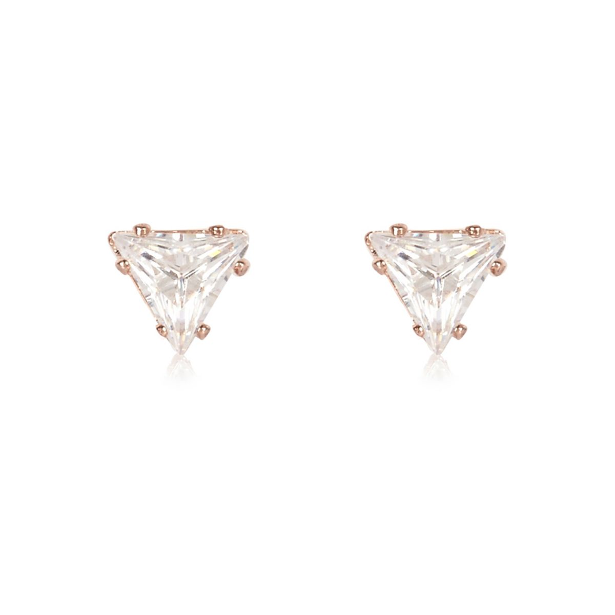 Clous d'oreilles doré rose motif triangle